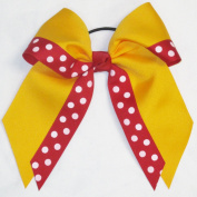 Large Double Layer Bow with Print, Gold, Red, Made in the USA
