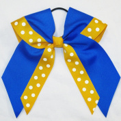 Large 2 Layer with Print Hair Bow, Royal/Gold, Made in the USA