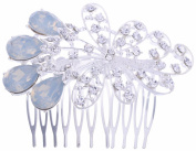 Silver Wedding Hair Clip Comb Crystal Jelly Stone
