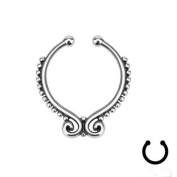 Oasis Plus Silver IP Beaded Butterfly Non Piercing Clip On Septum Fake Nose Ring Stud