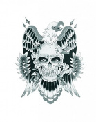 Grashine Halloween Tattoo for men and women eagle with skull temporary tattoo stickers