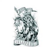 Grashine Halloween Tattoo for men and women skull evil is riding a horse temporary tattoo stickers