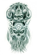 Grashine Halloween Tattoo for men and women Two ferocious monster temporary tattoo stickers