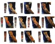 Healthcom 10pcs Fake Temporary Fake Slip on Tattoo Arm Sleeves Body Art Arm Stockings Accessories