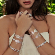 Flash Tattoos- Valentina- Authentic Metallic Temporary Tattoos Rose Gold/silver with. Crystals
