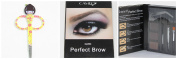 Cameo Cosmetics Perfect Brow- Dark Brown Eyebrows Colour Brush Stencils Tweezer Brush with Grooming Scissors Hair Trimmer