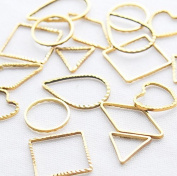 Frame parts [6 type 60 pieces each ten Gold] such as in the Powder trading triangle rhombus square round drop heart-shaped empty frame resin frame accessories parts Settings handmade Resin Earrings
