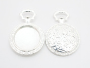 Gauze and workshop resin table pocket watch round (about 39mm) 2 pieces Silver cameo table meal dish Settings table handicraft material handmade materials material Craft Supplies