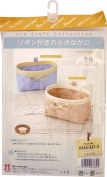 Hamanaka eco craft kit small basket pastel blue ~ cream with a ribbon H360-221-2