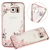 Samsung Galaxy S6 Crystal TPU Cover - UZZO Luxury Stylish Design Electroplated Rose Gold Frame TPU Bumper Case With Bling Diamond and Flower Series Clear Silicone Case for Samsung Galaxy S6