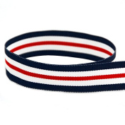 USA Made 2.2cm Nautical Striped Grosgrain Ribbon (Navy Blue, Red, and White Ribbon) - 100 Yards