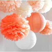 SUNBEAUTY Pack of 8 3 Colours Tissue Paper Flowers Tissue Paper Pom Poms, Wedding Decor, Pom Poms Flowers, Paper Lantern, Pom Poms Craft,Party Decoration