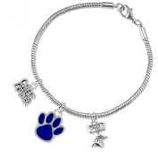 "Paw Crystal ""Cheer"" 3 Charm Bracelet ©2015, Safe-Hypoallergenic, Nickel, Lead and Cadmium Free"