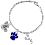 "Blue Paw ""Cheer"" 3 Charm Bracelet ©2015, Safe-Hypoallergenic, Nickel, Lead and Cadmium Free"