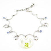 Genuine Four-leaf Lucky Clover Crystal Amber Chain Bracelet, Open Arms Embrace Good Luck, Adjustable Size 18cm - 20cm