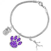"""""""Purple Paw"""" Crystal Basketball Jewellery, ©2016 Adjustable, Safe-Hypoallergenic, Nickel, Lead Free"""