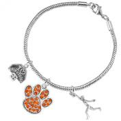 """Orange Paw"" Crystal Basketball Jewellery, ©2016 Adjustable, Safe-Hypoallergenic, Nickel, Lead Free"