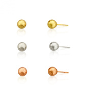 14k Gold Three Colour 4m Ball Stud Earring Set, Yellow,white and Pink/rose