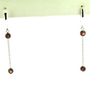 1.00 Ct White Gold Hanging Garnet Earrings 14 Kt