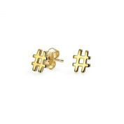 Beaute Fashion .925 Hashtag Number Symbol Twitter Stud Earrings Sterling Silver - Gift Boxed