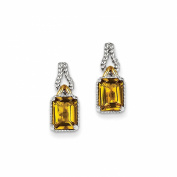 925 Sterling Silver With Flash Gold-Plate Accent Whiskey Quartz Earrings