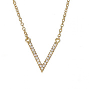 Beaute Fashion .925 V Shape Chevron Necklace Sterling Silver and CZ Layering Pendant Jewellery 41cm + 5.1cm Extender Chain - Gift Boxed