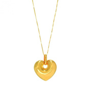 14k Yellow Gold Domed Heart with 46cm chain (PD1060