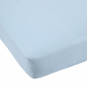 Balboa Baby Cotton Sateen Fitted Crib Sheet, Aqua/White Dot