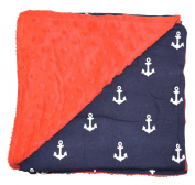 Unique Baby Trendy Blanket with Straight Edges Anchor Print Red