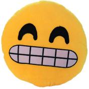 32cm QQ Emoji Emoticon Yellow Round Cushion Pillow Stuffed Plush Soft Doll Toy Giggle