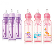 Dr. Brown's Baby Bottles Girls 6 Pack - 3 (240ml) Lavender and 3 (240ml) Pink bottles with new print