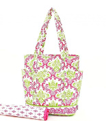 Hot Pink and Lime Green Damask Quilted Nappy Bag