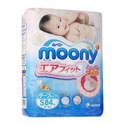 Japanese Soft Nappies - Nappies NEW Moony Air Fit, Small, (84 Psc) Irritation Free, for Extra Sensitive Skin, Leaks Free