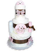 Pink Puppy Baby Nappy Cake