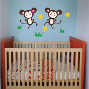 Pop Decors Removable Vinyl Art Wall Decals Mural, Monkey Brother and Monkey Sister