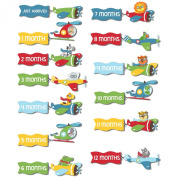 Set of 12 Monthly Baby Stickers for Photos and Bodysuits jungle aeroplane