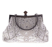 Hoxis Vintage Soft Beaded Sequin Froral Design Metal Frame Kiss Lock Satin Interior Evening Clutch Wallet ¨C CL1451