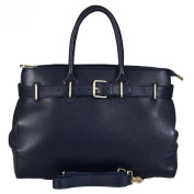 BELUCIA STRADELLA TOP HANDLE BAG EXTRA SOFT GRAINY CALFSKIN DARK BLUE, $5.99 Shipping