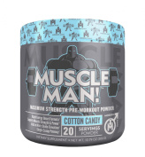 Muscle Man - All-In-One Muscle Building Pre Workout, Advanced Formula Combines Sustained Energy Rush w/ Elite Performance Enhancers for More Power/Strength and N.O. Elevation, Cotton Candy, 306 gramme