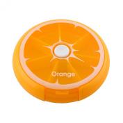 AUCH Portable Rotating 7 Day Weekly Pill Organiser Travel Medicine Tablet Holder Storage Case Box Dispenser, Cute Fruit Style, Orange