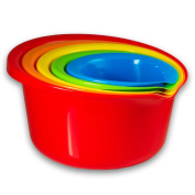 5 - Piece Rainbow Colour Nesting Kitchen Mixing Bowls Set with Wide Rim and Pouring Spouts