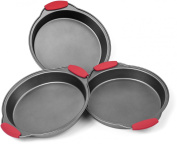 Elite Bakeware 3 Piece NonStick Cake Pans Set with Silicone Handles