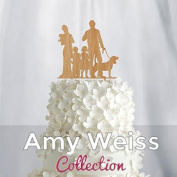 Wedding Cake Topper - Couple with baby and toddler girl and boy + dog- AW1063W