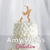 Wedding Cake Topper - couple with cat - AW1033W