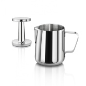 New Star Foodservice 28829 Commercial Grade Stainless Steel 18/8 350ml Frothing Pitcher and Die Cast Aluminium Tamper Combo Set