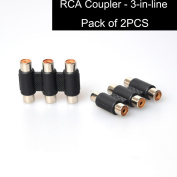 E-KYLIN 2PCS Triple Female to Female RCA Coupler Joiner Adapter - Convert Male To Female 3 Ports