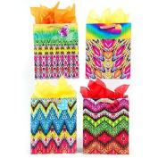 12 PC Medium Tie Dye Dream Matte Gift Bag With Burlap Handle And Heart Shape Tag, 4 Designs L 19cm X W 10cm X H 23cm