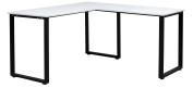 ,Merax L-Shaped Office Workstation Computer Desk Corner Desk Home Office Wood Laptop Table Study Desk (White)