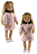 HongShun Doll Clothes for 46cm American girl Fashion Pink Overcoat