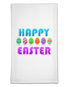 TooLoud Happy Easter Decorated Eggs Flour Sack Dish Towel